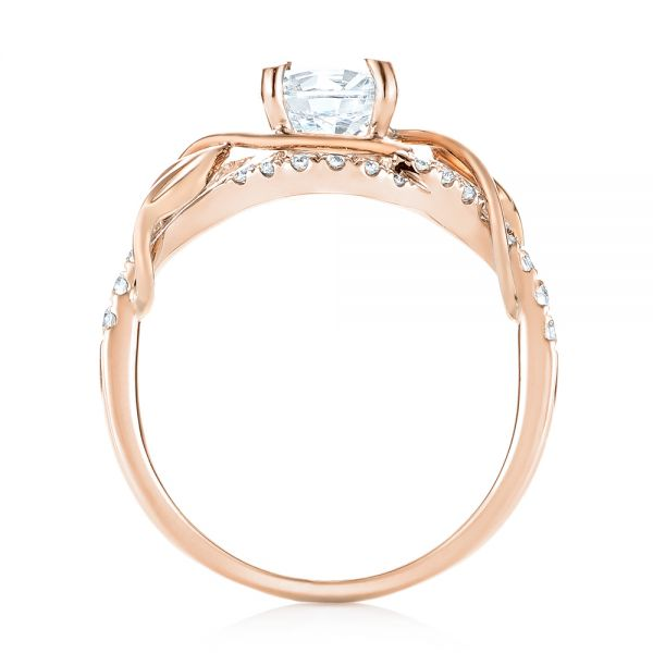 14k Rose Gold And 18K Gold 14k Rose Gold And 18K Gold Two-tone Wrap Diamond Engagement Ring - Front View -