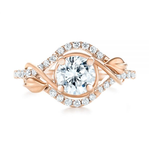14k Rose Gold And 18K Gold 14k Rose Gold And 18K Gold Two-tone Wrap Diamond Engagement Ring - Top View -