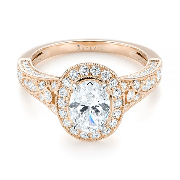 18k Rose Gold And 18K Gold 18k Rose Gold And 18K Gold Two-tone Diamond Halo Engagement Ring - Flat View -  103483