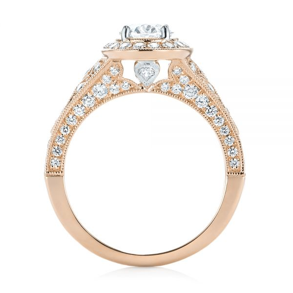 18k Rose Gold And 18K Gold 18k Rose Gold And 18K Gold Two-tone Diamond Halo Engagement Ring - Front View -  103483