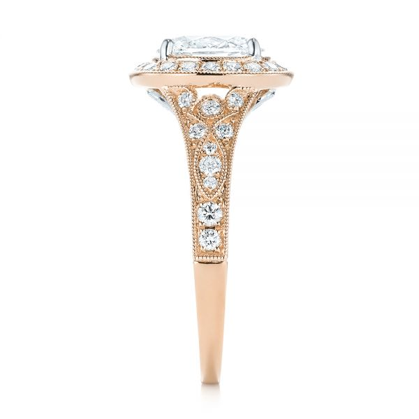 18k Rose Gold And 18K Gold 18k Rose Gold And 18K Gold Two-tone Diamond Halo Engagement Ring - Side View -  103483