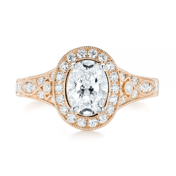 18k Rose Gold And 18K Gold 18k Rose Gold And 18K Gold Two-tone Diamond Halo Engagement Ring - Top View -  103483