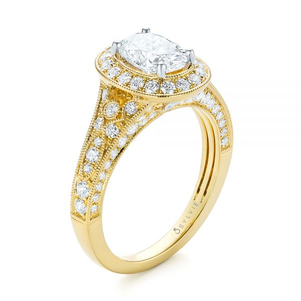 Two-Tone Yellow Gold Diamond Halo Engagement Ring - Image