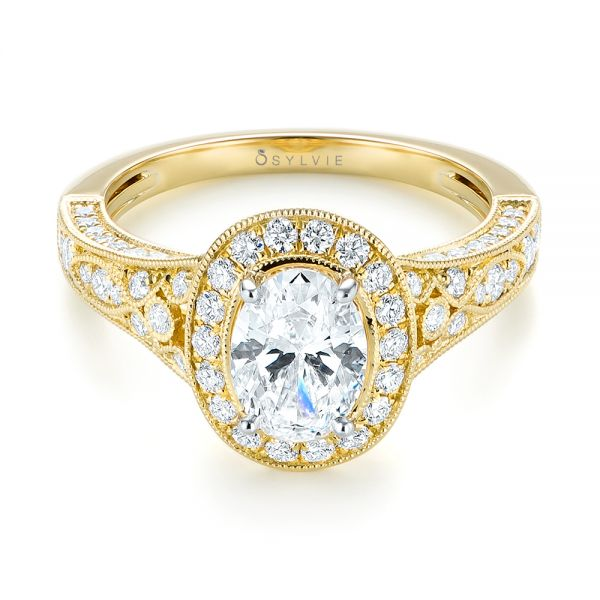 Two-Tone Yellow Gold Diamond Halo Engagement Ring - Flat View -  103483 - Thumbnail