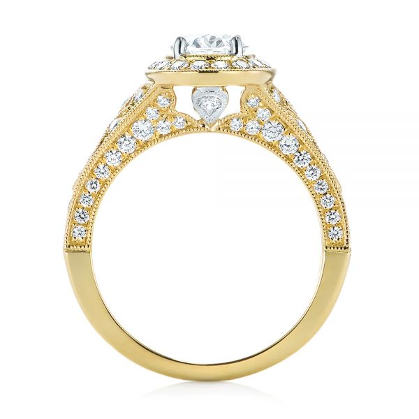 Two-Tone Yellow Gold Diamond Halo Engagement Ring - Front View -  103483 - Thumbnail