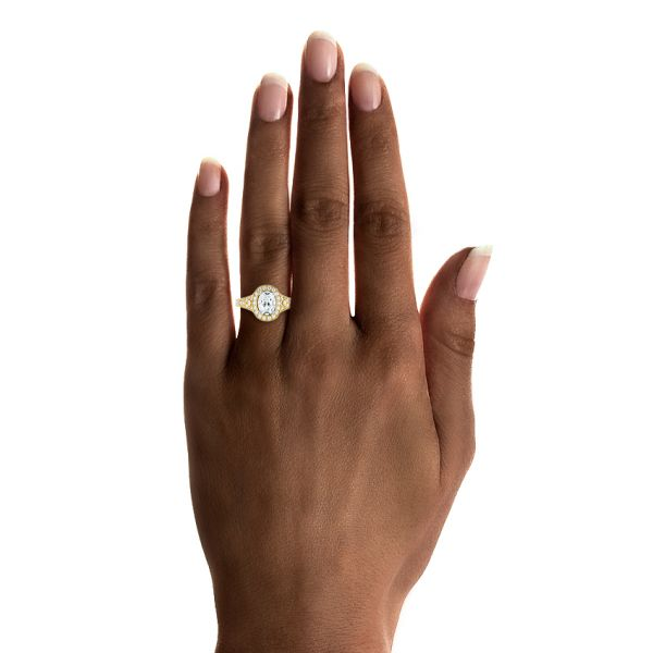 18k Yellow Gold And Platinum 18k Yellow Gold And Platinum Two-tone Diamond Halo Engagement Ring - Hand View #2 -  103483
