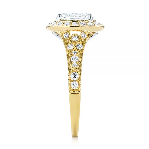 Two-Tone Yellow Gold Diamond Halo Engagement Ring - Side View -  103483 - Thumbnail