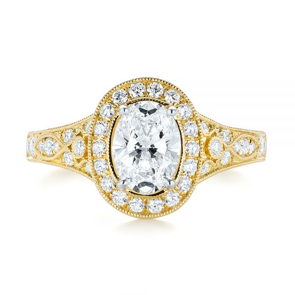 Two-Tone Yellow Gold Diamond Halo Engagement Ring - Top View -  103483 - Thumbnail