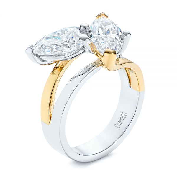 Two-stone Two-Tone Moissanite Engagement Ring - Image