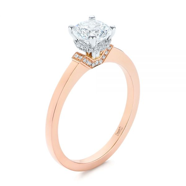 14k Rose Gold Two-tone Diamond Engagement Ring - Three-Quarter View -  105130