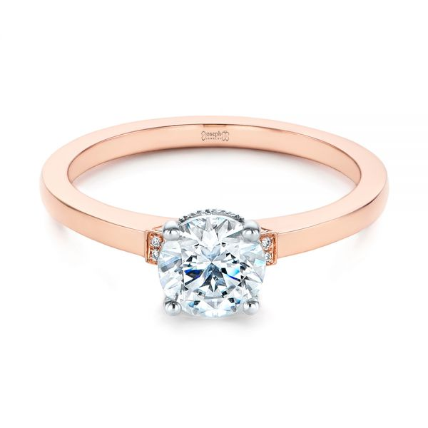 14k Rose Gold Two-tone Diamond Engagement Ring - Flat View -  105130