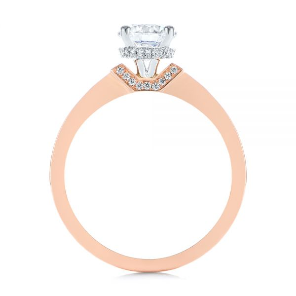 14k Rose Gold Two-tone Diamond Engagement Ring - Front View -  105130