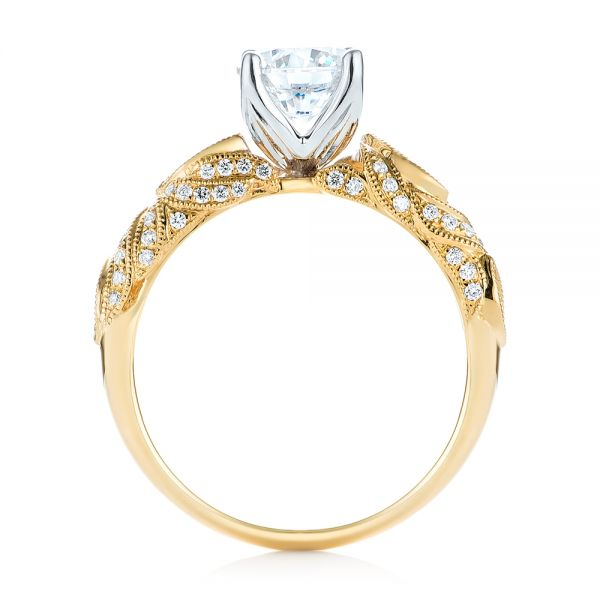 18k Yellow Gold And 18K Gold Two-tone Diamond Engagement Ring - Front View -
