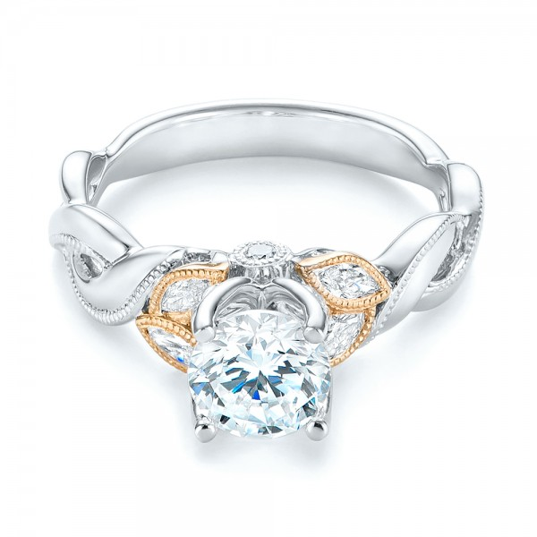 Two-Tone Diamond Engagement Ring - Laying View