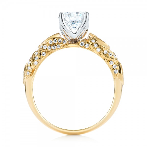 Two-tone Diamond Engagement Ring - Finger Through View