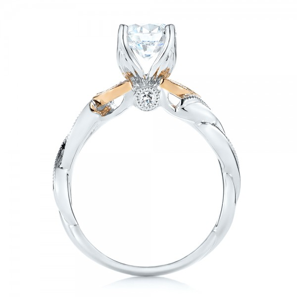 Two-Tone Diamond Engagement Ring - Finger Through View