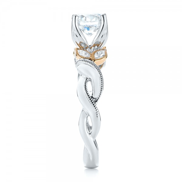 Two-Tone Diamond Engagement Ring - Side View