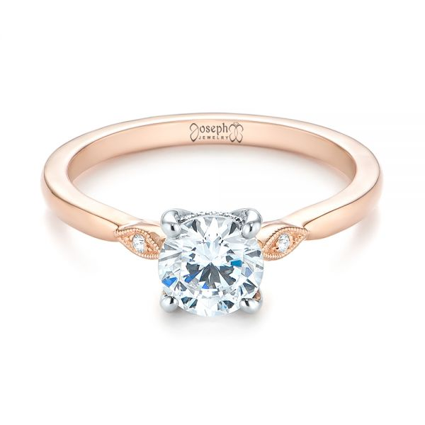 14k Rose Gold Two-tone Engagement Ring - Flat View -