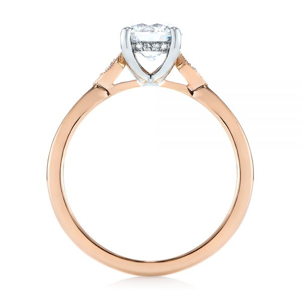 14k Rose Gold Two-tone Engagement Ring - Front View -