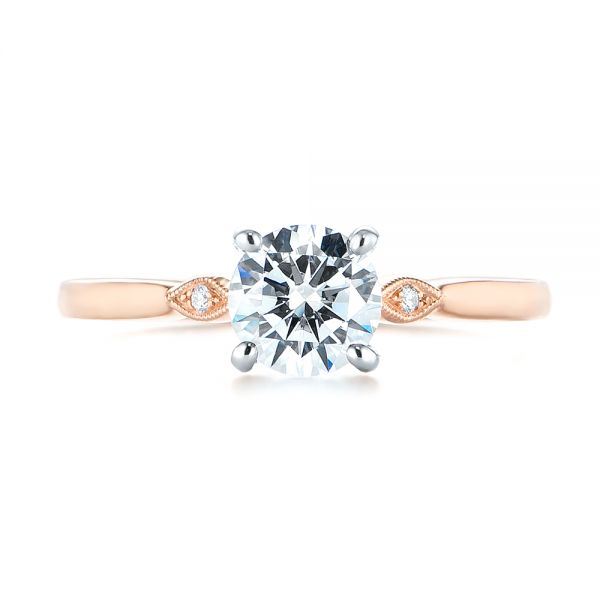 14k Rose Gold Two-tone Engagement Ring - Top View -