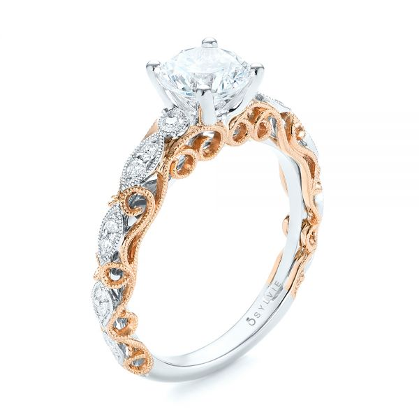 Two-tone Filigree Diamond Engagement Ring - Image