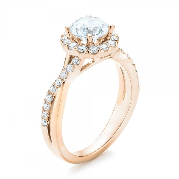 Two-tone Halo Criss-Cross Engagement Ring - Image
