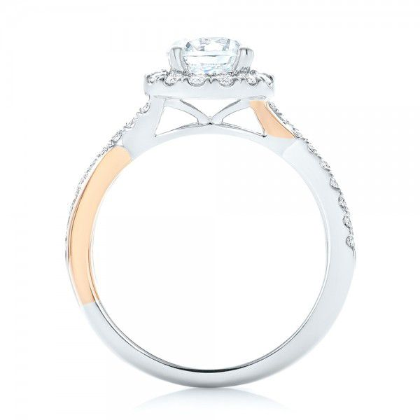 14k White Gold And 14K Gold Two-tone Halo Criss-cross Engagement Ring - Front View -