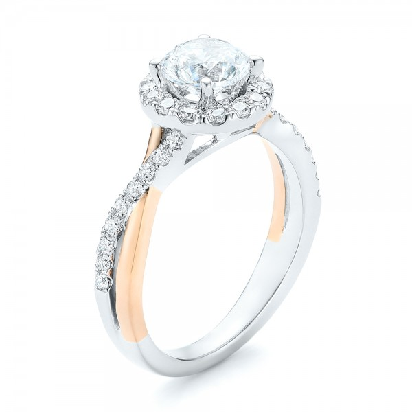 Two-tone Halo Criss-Cross Engagement Ring