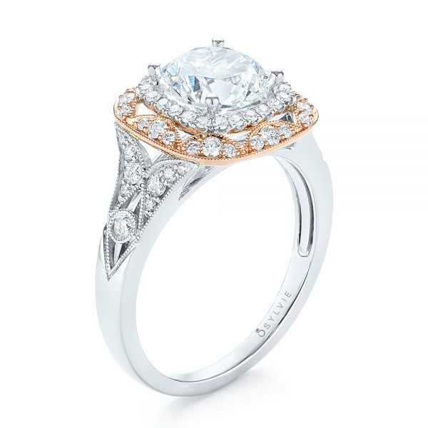 Two-tone Halo Diamond Engagement Ring