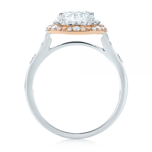 18k White Gold And 18K Gold Two-tone Halo Diamond Engagement Ring - Front View -  103045