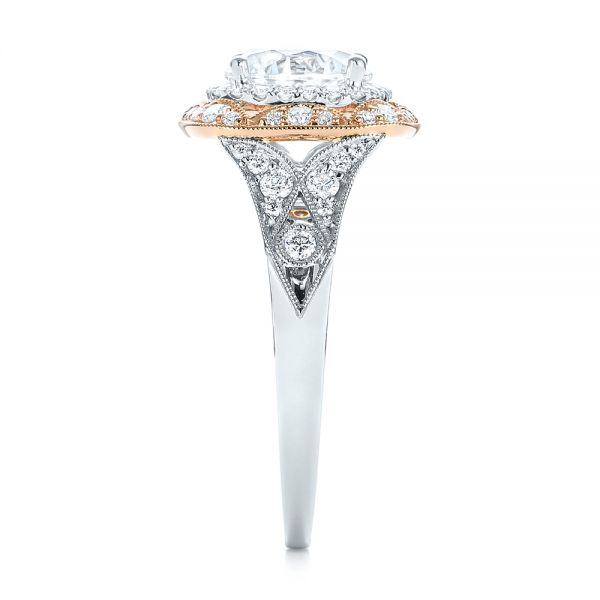 18k White Gold And 18K Gold Two-tone Halo Diamond Engagement Ring - Side View -  103045