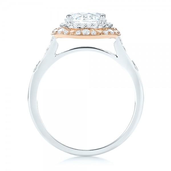 Two-tone Halo Diamond Engagement Ring - Finger Through View