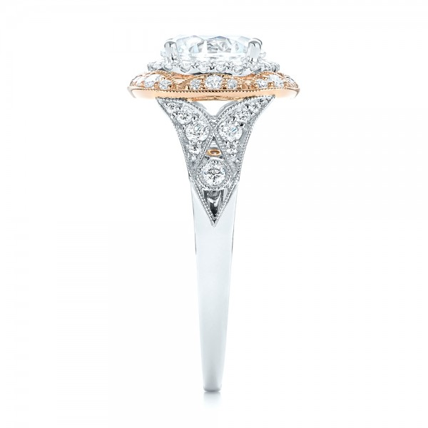 Two-tone Halo Diamond Engagement Ring - Side View