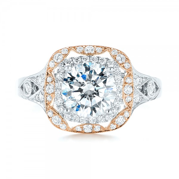 Two-tone Halo Diamond Engagement Ring - Top View