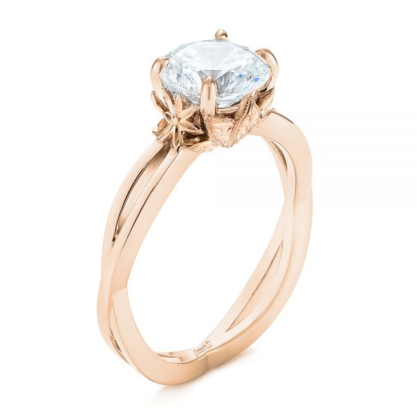18k Rose Gold And 18K Gold 18k Rose Gold And 18K Gold Two-tone Solitaire Engagement Ring - Three-Quarter View -  104019