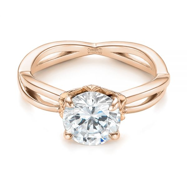 18k Rose Gold And 18K Gold 18k Rose Gold And 18K Gold Two-tone Solitaire Engagement Ring - Flat View -  104019