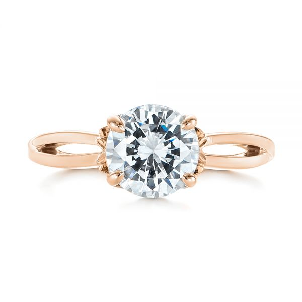 18k Rose Gold And 18K Gold 18k Rose Gold And 18K Gold Two-tone Solitaire Engagement Ring - Top View -  104019