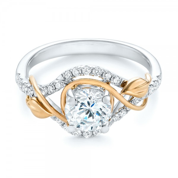Two-Tone Wrap Diamond Engagement Ring - Laying View