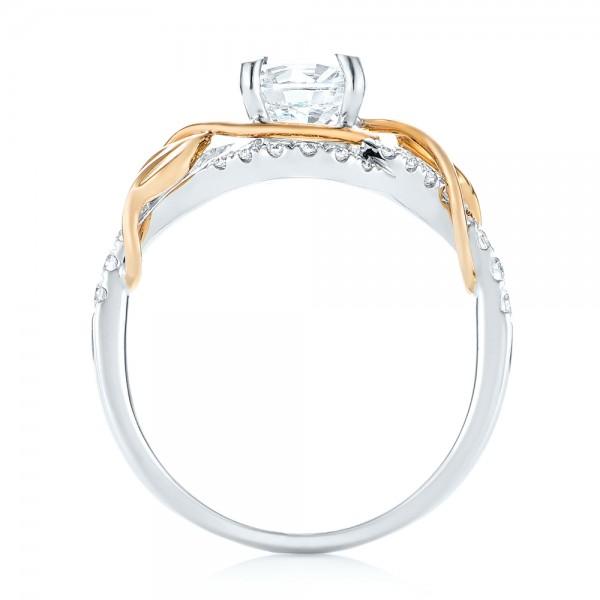Two-Tone Wrap Diamond Engagement Ring - Finger Through View