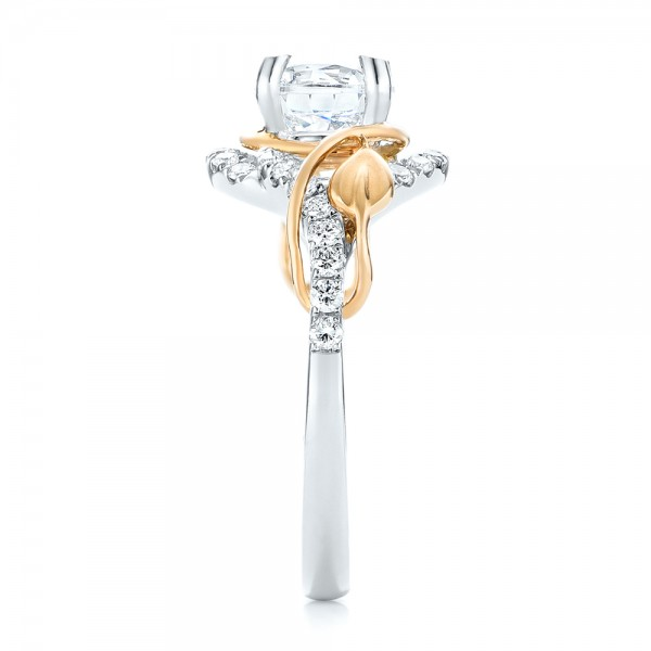 Two-Tone Wrap Diamond Engagement Ring - Side View