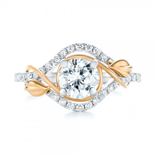 Two-Tone Wrap Diamond Engagement Ring - Top View