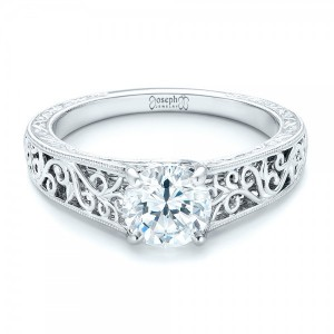 Vine Filigree Solitaire Diamond Engagement Ring