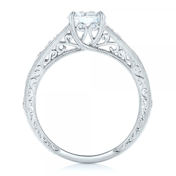 Vine Filigree Solitaire Diamond Engagement Ring - Finger Through View