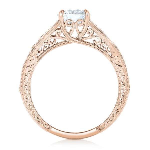14k Rose Gold 14k Rose Gold Vine Filigree Solitaire Diamond Engagement Ring - Front View -  102565