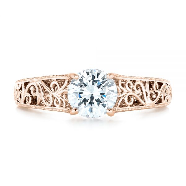 14k Rose Gold 14k Rose Gold Vine Filigree Solitaire Diamond Engagement Ring - Top View -  102565