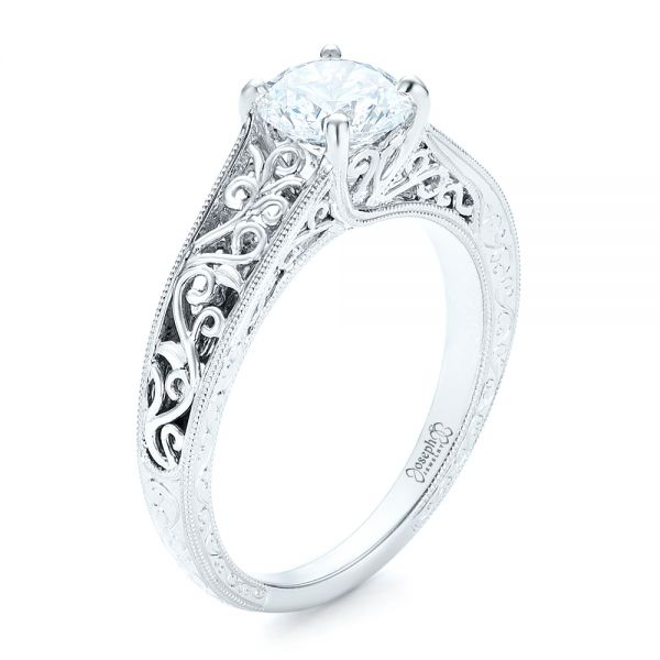 Vine Filigree Solitaire Diamond Engagement Ring - Three-Quarter View -  102565 - Thumbnail