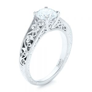 Vine Filigree Solitaire Diamond Engagement Ring - Image