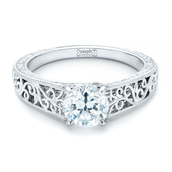 Vine Filigree Solitaire Diamond Engagement Ring - Flat View -  102565 - Thumbnail