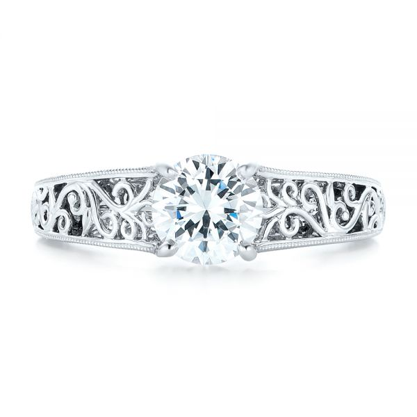 Vine Filigree Solitaire Diamond Engagement Ring - Top View -  102565 - Thumbnail