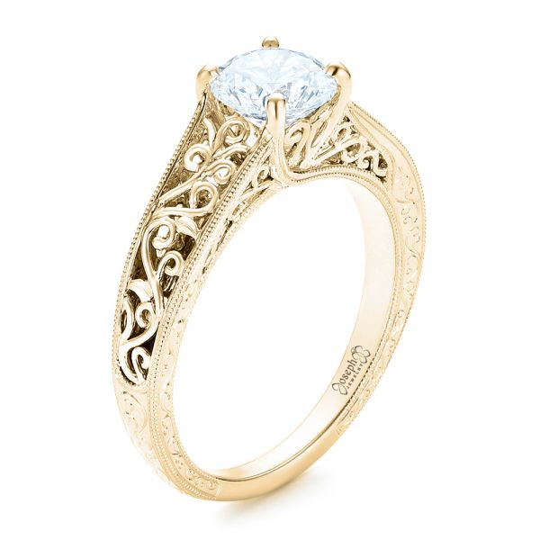 18k Yellow Gold 18k Yellow Gold Vine Filigree Solitaire Diamond Engagement Ring - Three-Quarter View -